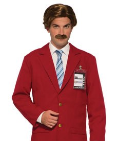 Adult Brown Anchorman Wig & Moustache