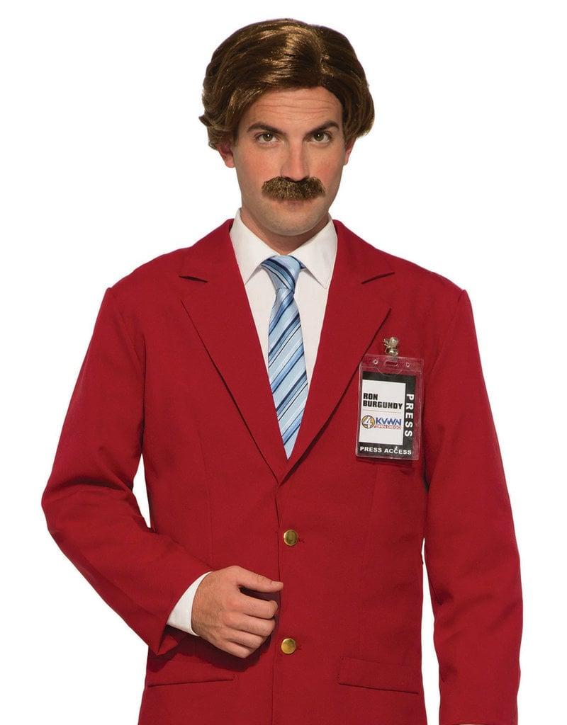 Adult Brown Anchorman Wig & Moustache
