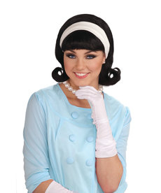 Women's 50's Black Flip Wig with Headband