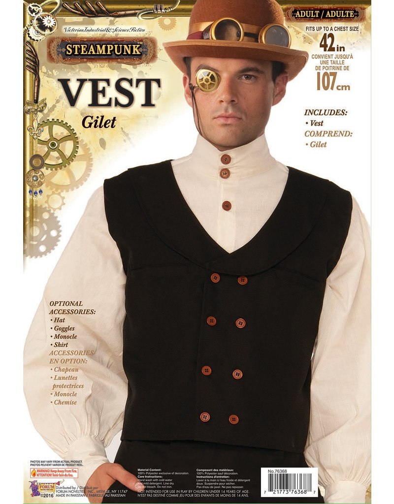 Black Steampunk Vest - Standard Adult Size
