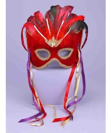 Carnival Half Mask w/ Red Feathers