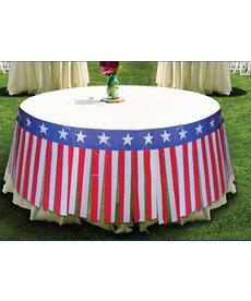 Patriotic Table Fringe Skirt: Red/White/Blue