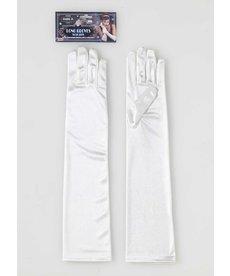 Roaring 20's Long Satin Gloves - White Beige