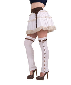 Steampunk Buckle Spats: White