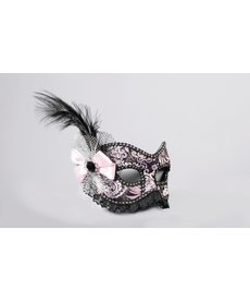 Venetian Lace Showgirl Mask w/ Eyeglasses Arms