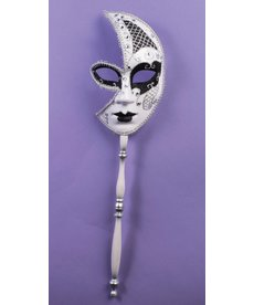 Venetian Black and Silver Half Mask with Stick
