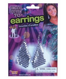 Disco Drop Earrings - Silver