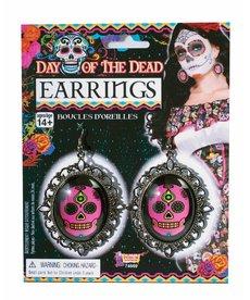 Day of the Dead Pink Skull Earrings