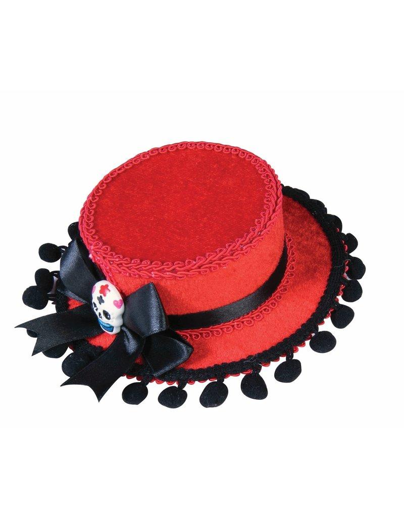 Day of the Dead Mini Hat w/ Poms - Red/Black