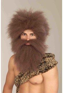 Adult Brown Caveman Wig & Beard Set