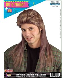 Adult Brown 80's Long Mullet Wig