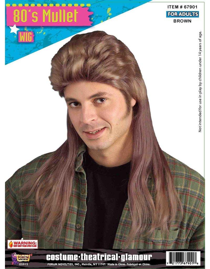 Adult Brown 80's Long Mullet Wig