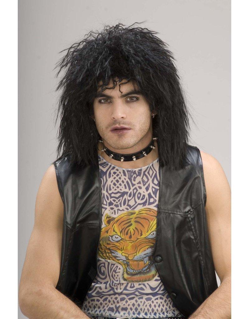Adult Black 80's Rock Star Wig