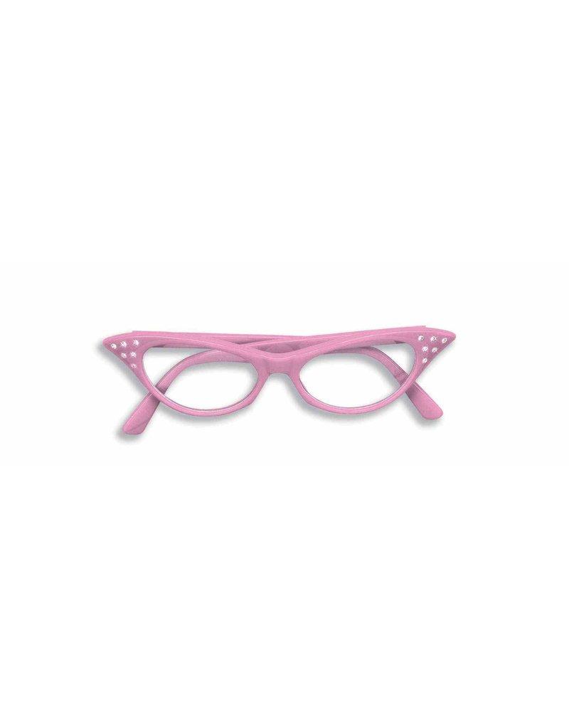50's Rhinestone Glasses: Pink