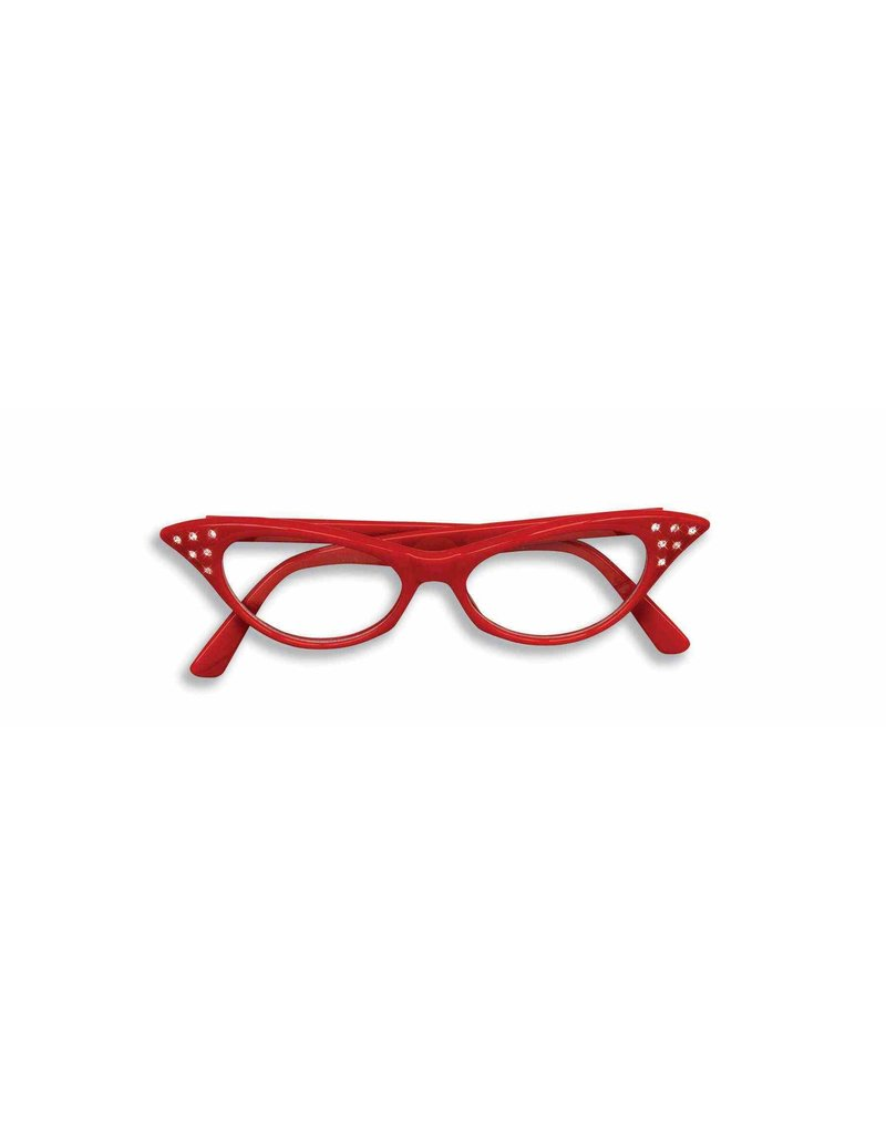 50's Rhinestone Glasses: Red