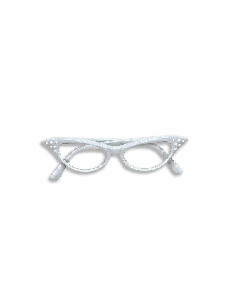 50's Rhinestone Glasses - White