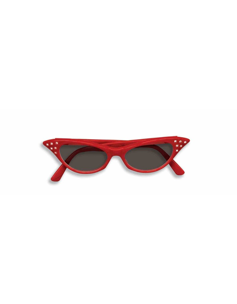 50's Rhinestone Tinted Glasses - Red