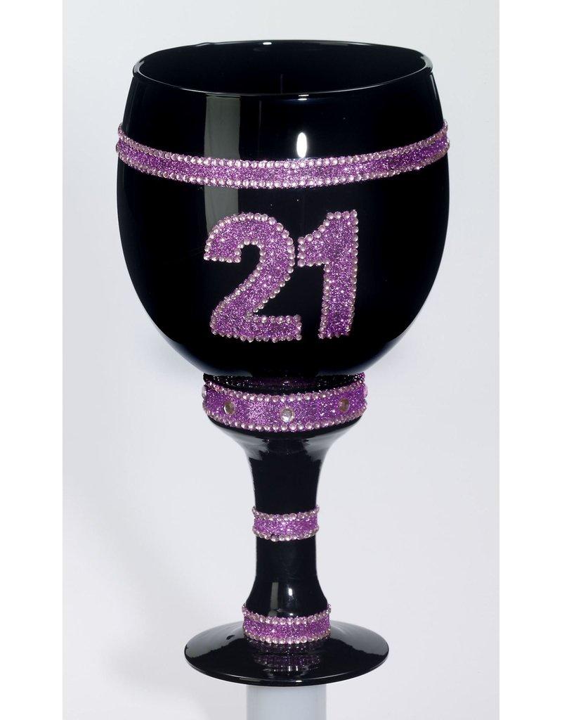 """Jumbo Goblet: """"21"""" - Black/Pink"""