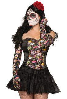 Day of the Dead Long Ruched Gloves