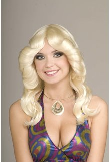 Adult Blonde 70's Disco Doll Wig