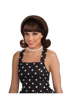 Women's 50's Brown Flip Wig with Headband