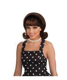 Women's 50's Brown Flip Wig with Headband