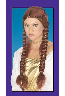 Adult Auburn Braided Renaissance Wig