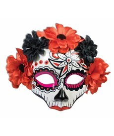 Day of the Dead Half Mask w/ Flowers