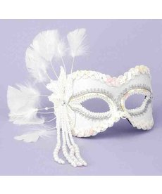 Venetian Half Mask w/ Beads & Feathers