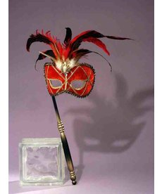 Venetian Red Mask with Stick
