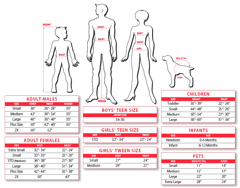 Rubie's Costume Size Chart