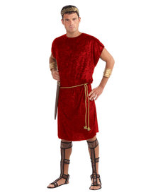 Men's Tunic with Rope Belt: Red - Standard