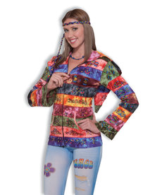 Women's 60's Hippie Hooded Rainbow Jacket: Standard