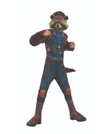 Rubies Costumes Kid's Deluxe Rocket Raccoon Costume with Muscle Chest