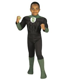 Rubies Costumes Kids Deluxe Green Lantern Costume with Muscle Chest