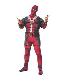 Rubies Costumes Men's Plus Size Deluxe Deadpool Costume with Muscle Chest
