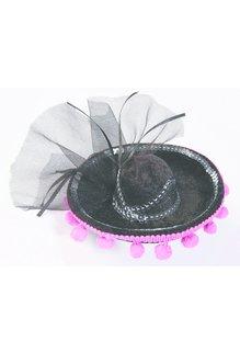 Black/Pink Day of the Dead Mini Sombrero