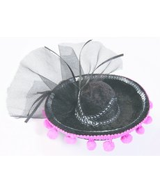 Black/Pink Day of the Dead Mini Sombrero
