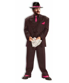 Adult Plus Size Jazzy Pink Gangster Suit Costume