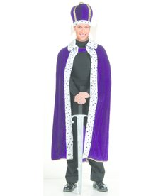 Adult King's Purple Robe & Crown Set