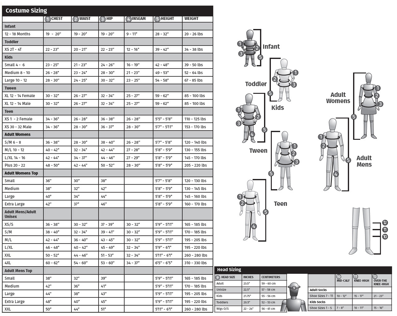 elope size guide