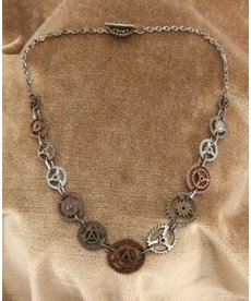 elope elope Steamworks Single Chain Gears Necklace
