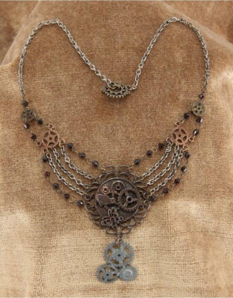 elope Steamworks Chain Gear Necklace Antique
