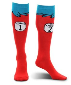 elope Dr. Seuss Cat in the Hat Thing 1&2 Costume Socks: Adult