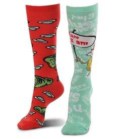 elope Dr. Seuss Green Eggs & Ham Mismatched Knee High Costume Socks: Adult