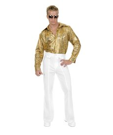 Plus Size Disco Shirt: Glitter Gold