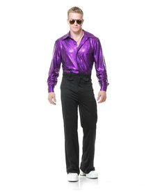 Men's Crocodile Purple Disco Shirt