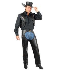 Men's Black Faux Leather Chaps & Vest