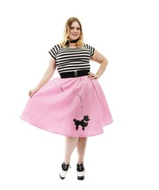 Women's Plus Size Pink Poodle Skirt Costume