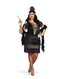 Dream Girl Women's Plus Size Swanky Flapper Dress